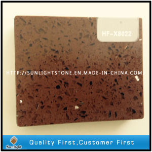 Customized Engineered Brown Artificial Quartz Stone Tiles for Countertops pictures & photos