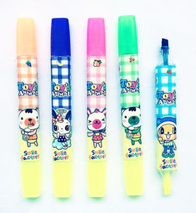 New Product Good Quality Multi Colored Double Ended Highlighter Pen