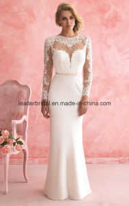 Sheer Long Sleeve Wedding Dresses Lace Sheath Bridal Gowns Z2010 pictures & photos