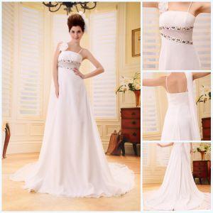 Nice Colorful Sashes Handmade Flower Shoulder Design Fairy Prom Dresses 2012 (BLF-031)