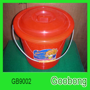 16L Round Plastic Bucket with Metal Handle
