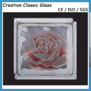 190*190*80mm Pink Flower Glass Block with Ce/ISO9001 pictures & photos