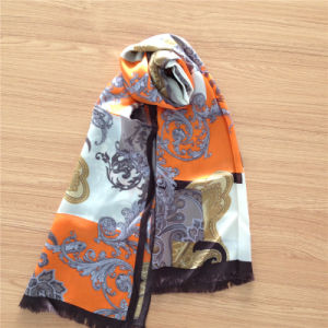 Printed Silk Satin Scarf with Fringe for Lady