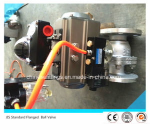 JIS Standard Flanged Pneumatic Actuator Stainless Steel Ball Valve pictures & photos