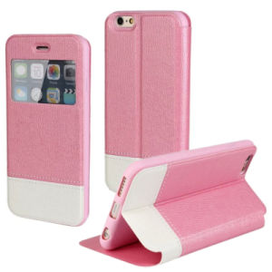 Cell Phone Cover for iPhone 6 Plus with 2 Colors Contrast, Filp Stand Mobile Phone Case Wholesale