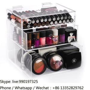 3 Layers Clear Acrylic Makeup Organizer with Drawers pictures & photos