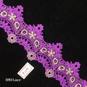 8cm Purple Bridal Alencon Lace Trim, Scalloped Flroal Embroidery Lace Trim in Ivory Hme859 pictures & photos