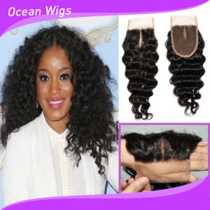 Deep Wave 8A New Unprocessed Cambodian Human Hair Middle Part Slik Top Lace Closure pictures & photos