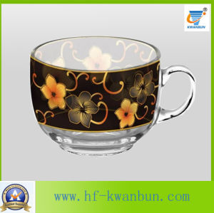 Printed High Quality Hot Sell Glassware Cups with Plates Kb-Hn08165 pictures & photos
