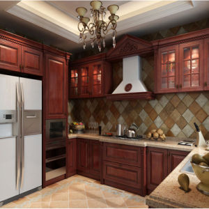 New Arrival Kitchen Cabinet with Red Cherry Solid Wood Surface pictures & photos