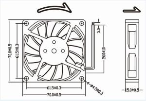 High Quality 70mm 12V Mini Plastic Fan Blade 70X70X15mm pictures & photos