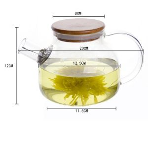 850ml Stainless Steel Heat Resistant Glass Teapot with Flat Hat pictures & photos