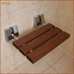 Le Mei Shi D-Shape Teak Material Bathroom Shower Seat Wood Stool for Changing Shoes High Quality Wall Mounted Fold up Seat Wall Chair pictures & photos