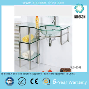 Floor-Mounted Glass Sink Bathroom Cabinet (BLS-2162) pictures & photos