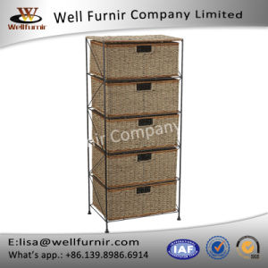 Well Furnir Rattan Metal Frame with 5-Drawer Storage Chest Bar Cart pictures & photos
