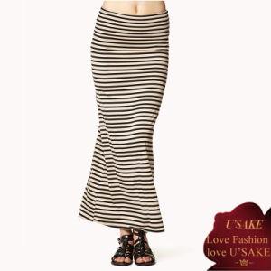 Women Stripe Fashion Jersey Cotton Long Skirt
