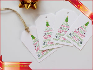 White Printed Paper Hang Tag Nylon String Garment Hangtag pictures & photos