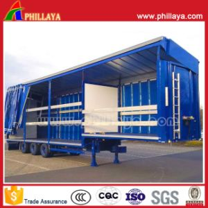 3 Axle Cargo Transport Box Stake Curtain Side Semi Trailer pictures & photos