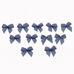 Navy Chex Ribbon Bow pictures & photos