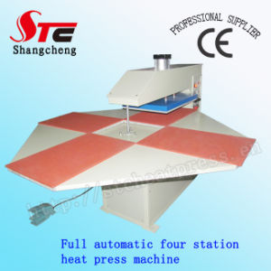 CE Certificate Full Automatic Pneumatic Four Station Heat Press Machine T-Shirt Heat Transfer Machine Stc-Qd03 pictures & photos