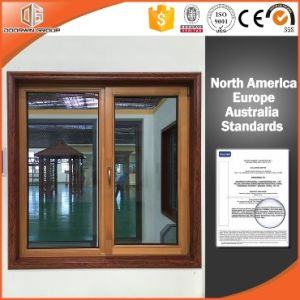 Aluminum Clad Solid Pine Wood Inward Opening Window Casement Window, Interior Log Wood Color Tilt Window pictures & photos