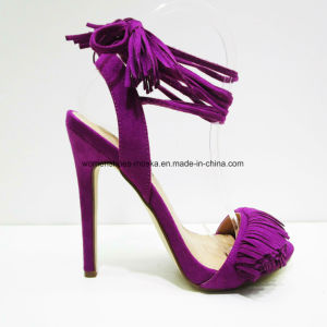 New Style Lady Fashion High Heel Sandal Shoes with Lace pictures & photos