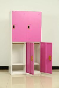 Manufacturer Pink Color 4 Door Metal Locker with Electronic Lock pictures & photos
