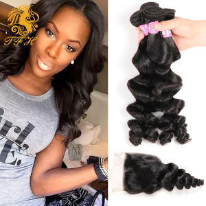 Brazilian Loose Wave 4 Bundles with Lace Closure Unprocessed Human Hair Weave Brazilian Virgin Hair with Closure pictures & photos