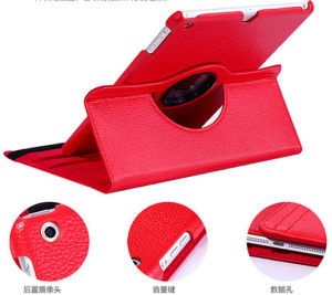 Red 360 Rotating Crocodile PU Leather Cover for iPad pictures & photos