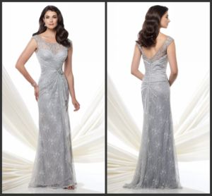 Silver Lace Mother of The Bride Dress Long Sheath Formal Evening Dress E1511 pictures & photos