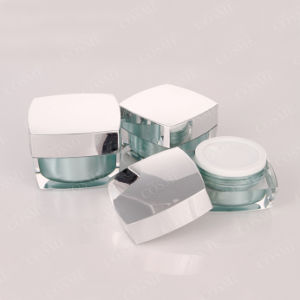 Silver Gold Square Quality Plastic Acrylic Cosmetic Packaging Cream Jar and Bottle pictures & photos