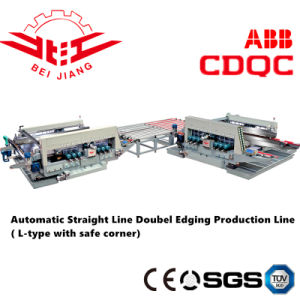 Automatic Straight Line Double Edging Production Line (L-Type with Safe Corner) pictures & photos