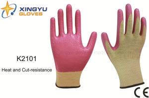13G Meta-Aramid Fibre Nitrile Coated Heat and Cut Resistance Safety Work Glove (K2101) pictures & photos