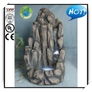 56 Inches Easy Set-up Fiberglass Rockery Water Fountains with Lights for Outdoor & Indoor (YF2222B-55H-LM09)