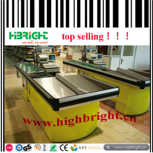 Electric Supermarket Cash Desk with Smooth Conveyor Belt pictures & photos