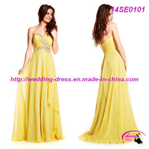 Yellow Full Length Prom Party Dress with Sweetheart Neckline pictures & photos