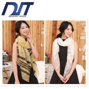 Korean Version New Stripes Simple Wind Cotton Scarf