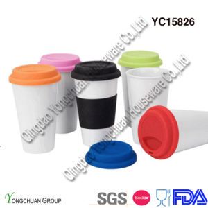 Porcelain White Travel Mug with Silicon Lid and Wrap