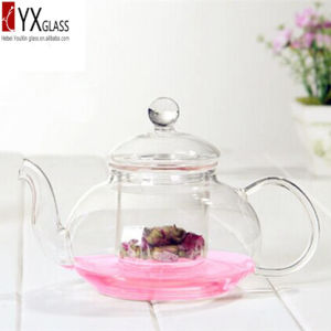 600ml Heat-Resistant Borosilicate Glass Teapot with Glass Filter/Glass Tea Kettle/Glass Tea Maker with Glass Cap