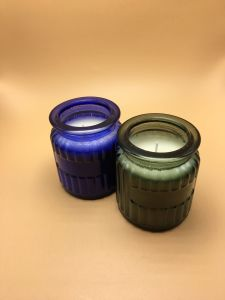Various Color Glass Jar Candle with Wooden Lid pictures & photos