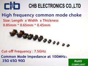 High-Frequency Common-Mode Choke for USB3.0/HDMI 1.4 Cat2, Impedance~65ohm at 100MHz, Size: 0.85mm * 0.65mm * 0.45mm (inch-03025) pictures & photos