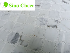 Natural Stone Polished White Marble Waterjet Tile Mosaic pictures & photos