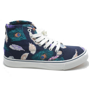 Canvas Flower Cusual Espadrilles Vulcanizaion School Women High Shoes pictures & photos