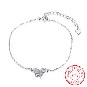 Romantic 925 Sterling Steel Bracelet with Butterfly Shape Pendant Zircon Inset Jewelry pictures & photos