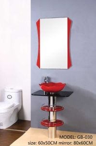 Bathroom Glass Sink with Shelf with Mirror pictures & photos
