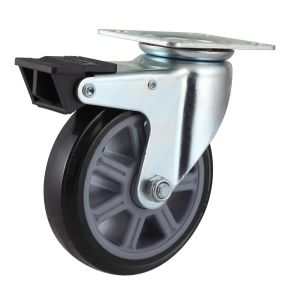 Threaded Stem with Dual Brake PU Caster pictures & photos
