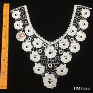 38*35cm Fashion Polyester Knitted High Quality Refined Round Collar Lace Trim with White Flower and Nets Pattern for Women Garment Hml8611 Factory Outlet pictures & photos