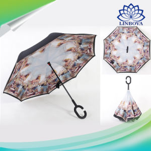 Fashion Inverted Windproof Reverse Umbrella Double Layer C Hook Upside Down pictures & photos