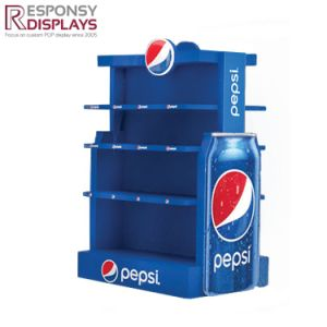 Firmly Design Floor Water Rack Metal Beverage Display Stand with Header and Poster pictures & photos