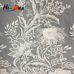 Custom Made Print Logo Good Price 100 Polyester Lace Fabric pictures & photos
